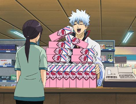 いちご牛乳を買い込む坂田銀時