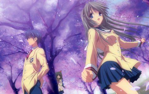 岡崎と桜の下にいる智代