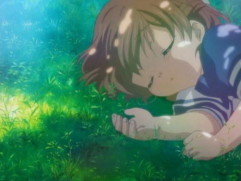 木の下で寝ている汐を見つけた風子