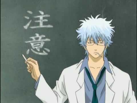 黒板を指さす銀八先生