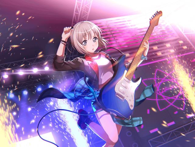 ギターを弾く青葉モカ