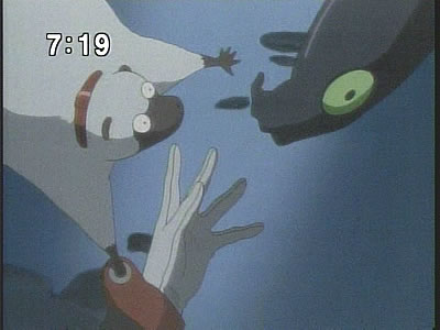 アネモネとドミニクの手を繋がせようとするガリバー