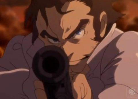 真剣な顔で銃を構えるチャールズ