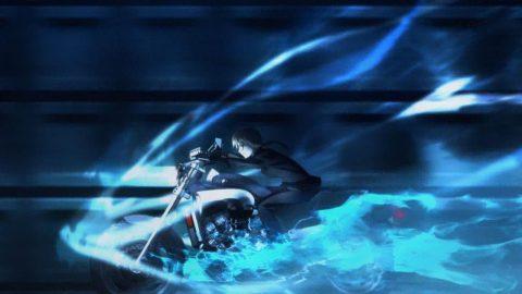 バイクに乗り風をきるセイバー