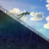 塀を跳び越える英二