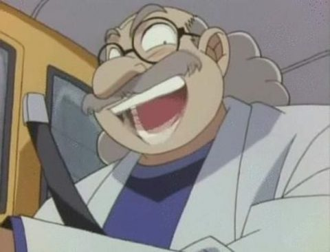 やらしい顔で笑う博士