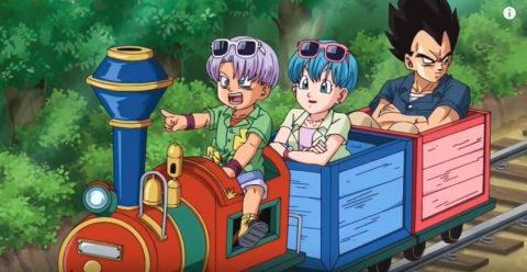 家族と小さい記者に乗るベジータ