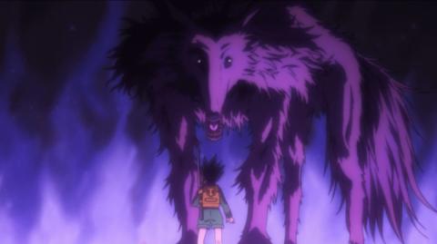 野犬と向き合うゴン