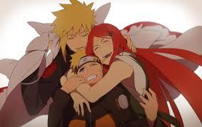 家族と抱き合うナルト