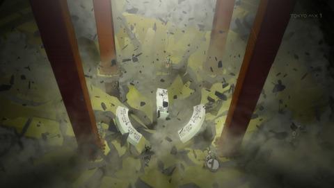 会場の床が崩落して散り散りになる戦士たち