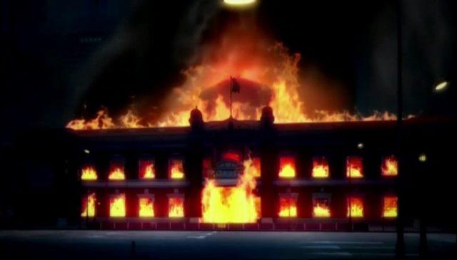 断罪兄弟 弟の火災で燃える銀行