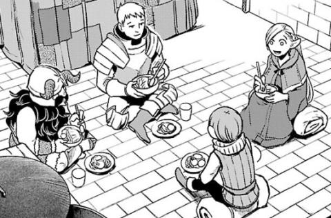 食事をするメインキャラたち