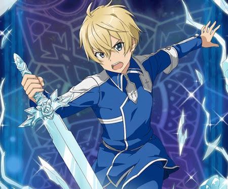 青薔薇の剣を振りかざすユージオ