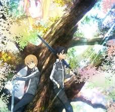 思い出の大木の下で過ごすキリトとユージオ