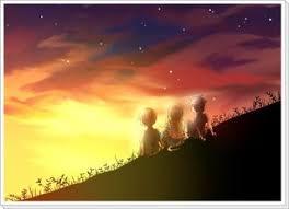 夕焼けを見ているキリトたち