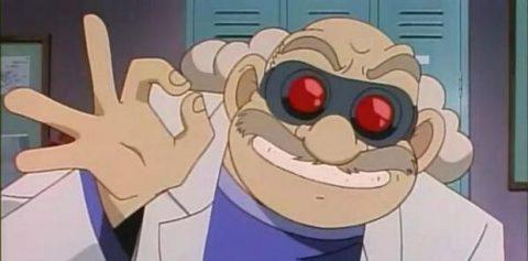 ゴーグルをつけて変なポーズをとる阿笠博士