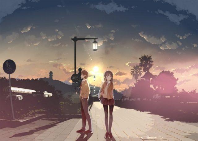 夕陽を背に立つ梓川咲太と桜島麻衣