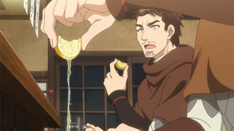 食べ終えたベルトホルトの前でレモン汁を使うハンス