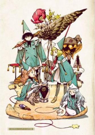 魔法陣を描く4人