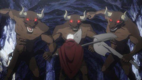 ミノタウロス三体と戦うベル