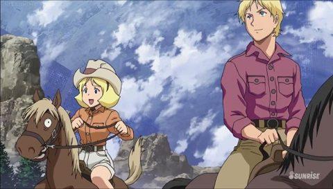 乗馬する2人