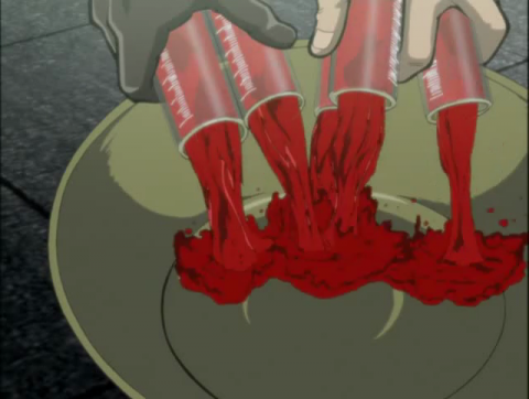 血液を破棄するアカギ