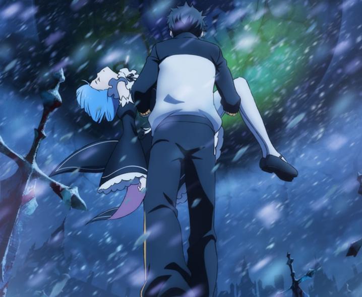 レムを抱きかかえるスバル