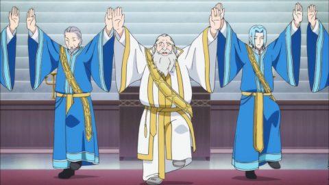 グリコのポーズをする神殿長