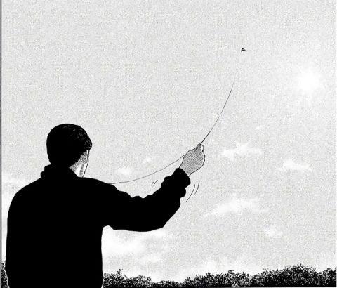 凧揚げするファブル